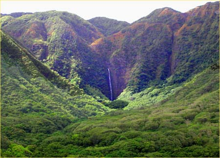 Hipuapua and Moaula Falls located in Halawa Valley on the East end of Molokai