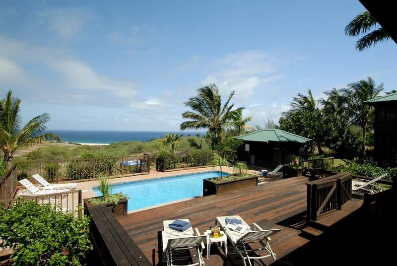 Ohana House back Lanai overlooking the Deck, pool and Jacuzzi